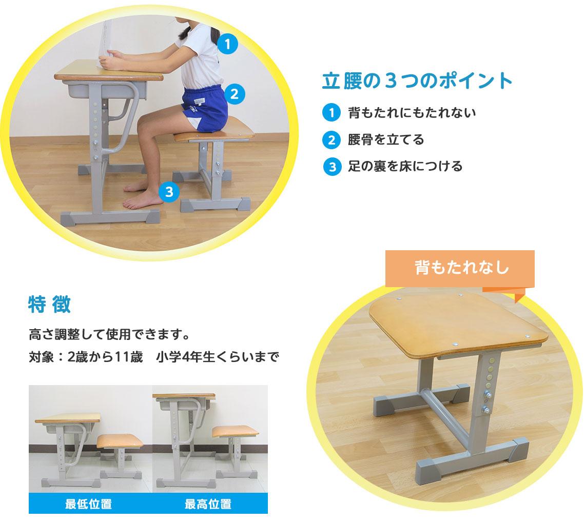 立腰の3つのポイント 1.背もたれにもたれない 2.腰骨を立てる 3.足の裏を床につける 特徴:高さ調整して使用できます。対象:2歳から11歳 小学4年生くらいまで
